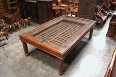 I love tables made from antique doors