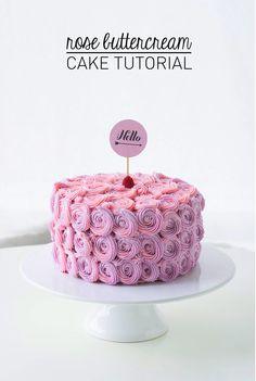 Rose buttercream cake tutorial.