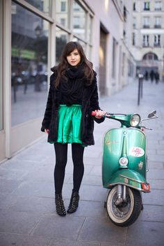 Punch up a dark winter palette with a bright skirt. #green #teal