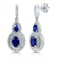 Oval Cut Sapphire CZ 925 Sterling Silver Double Halo Dangle Earrings  $70.99