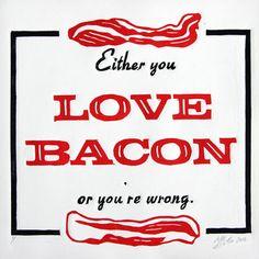 bacon print, matt butler, linocut print, food, funni, art prints, kitchen, quot, true stories