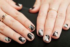 black / white geometric nails #nail #art