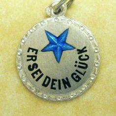 Vintage German Silver Enamel Lucky Star Charm for Bracelet ~Rare Blue Star