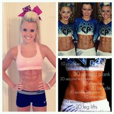 Killer ab workout. Inspired by Cheer Athletics Cheetahs. Seriously. Your abs will burn like no other. Increase seconds and reps as they get easier