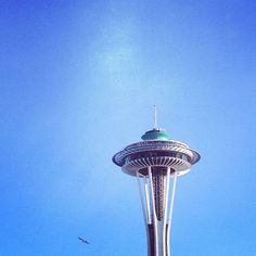 Space needle, now green. Photo by @jessedit #Seattle #PublicArt #Latergram