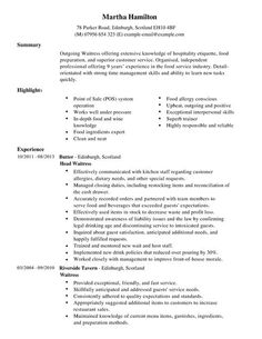 cv examples for bar jobs - Bar Resume Examples