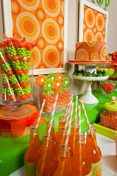 :)  Orange and green