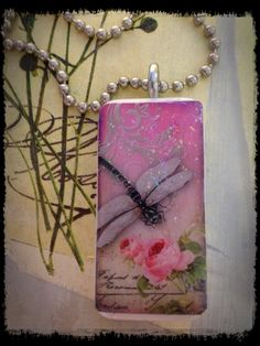 Dragonfly and Roses Domino Tile Necklace by bluedivacreations, $8.00