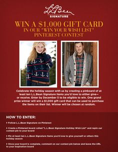 Our L.L.Bean Signature Pinterest contest started today!  Get pinning and you could win a $1,000 gift card!