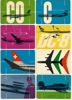 Past Print: Swissair / House of cards / 1960s graphic design with airplanes and travel imagery