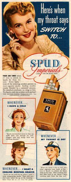 Vintage Healthy Cigarette Ad-Spud Cigarettes