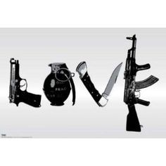 #9: Steez (Love, Weapons) Art Poster Print - 24x36 Poster Print by Steez , 36x24 Fine Art Poster Print by Steez , 36x24.