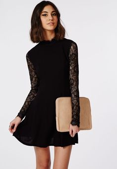 Lace Sleeve High Nec