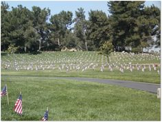 """A photo of flags planted by veterans' graves in California's Riverside National Cemetery on Memorial Day. Photo by Gena Philibert-Ortega. Read more on the GenealogyBank blog: """"Remembering Our American Veterans on Memorial Day 2013."""""""