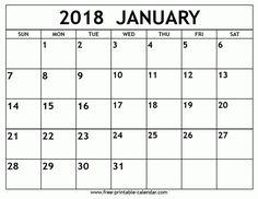 January 2018 Blank Calendar | January 2018 Calendar | Pinterest ...