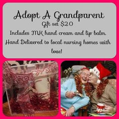 """Purchase one and donate one hand cream or lip balm for a Adopt a Grandparent for Christmas"""".  Gifts will be delivered on Christmas Eve at local nursing homes in your name.  Thank you for Your Support!!! $20 for two hand creams or 2 lip balms. http://www.marykay.com/jsmith26"""