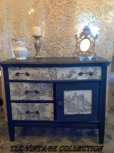 Annie Sloan European Fabric Collection, Charcoal Toile, faced on drawers & doors, and paired with Graphite Chalk Paint³ decorative paint by Annie Sloan! #chalkpaint #morethanchalkpaint