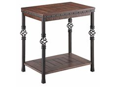 Shop+for+Stein+World+Sherwood+Chairside+Table,+490-041,+and+other+Living+Room+Tables+at+Stein+World+in+Memphis,+TN.+Chairside+table+with+solid+poplar+and+wood+veneers,+twisted+metal+accents,+nail+head+banding+details,+distressed+finish,+storage+shelf+and+plank+style+detailing.