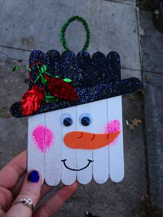Easy to make #Christmas #Crafts #snowman #ornament #FirstGrade