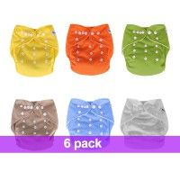 6 Shopdiaper Suded Leakproof One Size Pocket Cloth Diapers For Baby Boys/Girls 6 Colorbbt-129 | Shopdiaper
