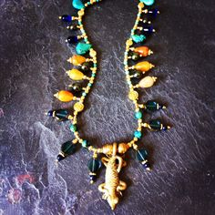 """ROX 'Cleopatra' Necklace with Turquoise, Yellow Agate, Pearl, Vintage German Glass, Togo and Indonesian Brass Beads and Spacers and Nigerian Brass Crocodile Pendant. 22"""".  $325."""