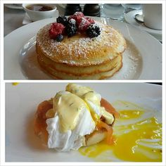 Pancakes & Smoked Salmon Benedict at Bistro du Midi (Boston, MA). #UniqueEats #breakfast #pancakes #eggs
