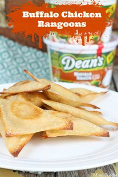 Buffalo Chicken Rangoons: Easy Oven Fried Appetizers #DeansDip #BuffaloRanch AD - Mom Foodie - Blommi