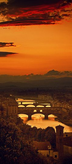 Four Bridges Of Florence, Italy.