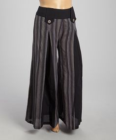 Look what I found on #zulily! Black & Gray Stripe Wide-Leg Pants - Plus #zulilyfinds