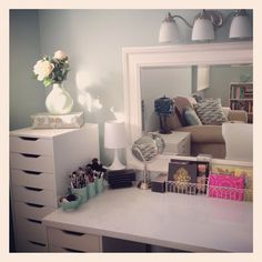 bedroom decor storage, diy desk, makeup vanities, beauti makeup, hair beauty, makeup beauty room, drawer, storage ideas, vanities makeup storage