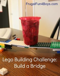 100 pennies in a cup...see who can make a bridge to support it using the smallest amount of legos. Great for after the state tests or during the last week of school! build challeng, lego science, bridg build, lego fun, camp activities, homeschool summer, summer activities, rainy day activities, lego challenge