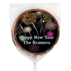 Let your New Year's party guests give in to their chocolate temptation when you pass out Personalized Milk Chocolate Lollipops!