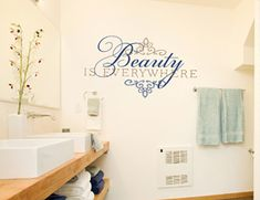 Beauty is Everywhere Wall Decal would look beautiful in your home- especially around photos or in a bathroom!   #beauty #everywhere #decal #walldecal #inspiring #wall #home #decor #family