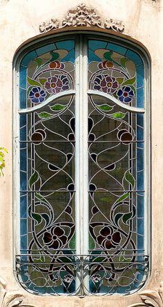 glass window, garden gates, llúria 074, de llúria, door, stain glass, barcelona spain, art nouveau, stained glass