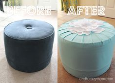 Thrift Store Ottoman Overhaul - Craft Crazy Mom