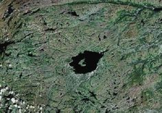 Mistastin Lake, Labrador   38 million years old,  17 x 11 km, smaller from erosion by glaciation.