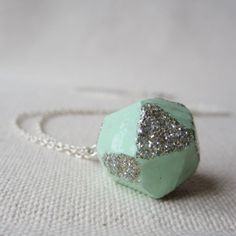 POP mint glitter necklace - by #birdandbeau - #handmade #jewelry #shoplocal #raleigh #northcarolina #recycled #oneofakind