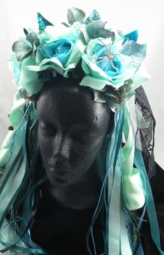 Teal and turquoise Dia de Los Muertos Crown and Falls matching set - Mermaid Sea Siren Faerie. $ 50.00, via Etsy.