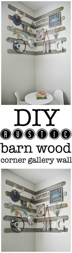 DIY Rustic Barn Wood Corner Gallery Wall -