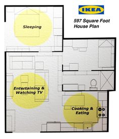 Ikea's 597 square foot house plan. 2 bedrooms, kitchen and bath. Perfect tiny house floor plan.