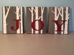 Hand Painted Canvas JOY Signs with Birch Trees-I'm going to try to recreate this with teal rather than red Hand Paint, Birches, Canva Joy, Birch Tree Decor Birthday, Rustic Canvas Painting, Joy Sign, Painted Canvas, Canvases, Paint Canva