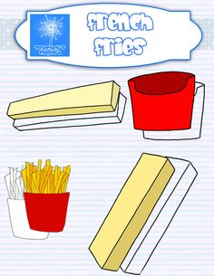 this set includes line art and colored images for: box with french fries empty box 2 different fries ($)