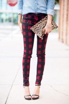 Mixed Prints. Rag and Bone Buffalo CHeck Pants. Leopard Bag. Denim Shirt