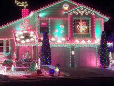 pink christmas, outdoor christmas decorations, color, holiday lights, christmas displays, christmas lights, hous, christma light, christmas trees