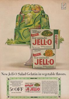 Call me nuts, if you like, but I've always been secretly intrigued to know what the vegetable flavours of Jell-o from the 60s tasted like. #retro #vintage #1960s #jello #food #ad