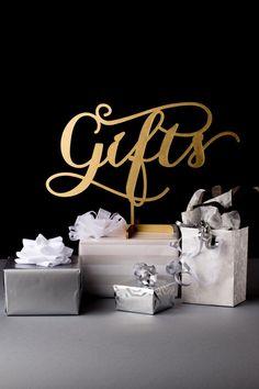 Custom made 'gifts' sign. So cute!