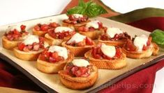 Mmmm... Bruschetta with Tomato and Mozzarella Recipe- I would probably put a little extra balsamic vinegar in- but it sounds amazing!!