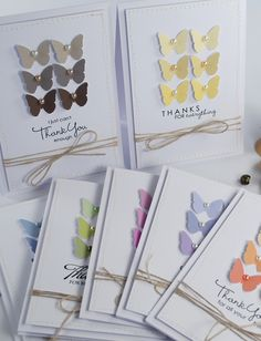 easy thank you card set with butterfly punch