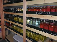 Recipes We Love: Canning Pantry-- with chalkboard ledge to protect jars and provide a way to label the goods