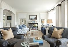 Barclay Butera - living room love the two seating areas in this long living room